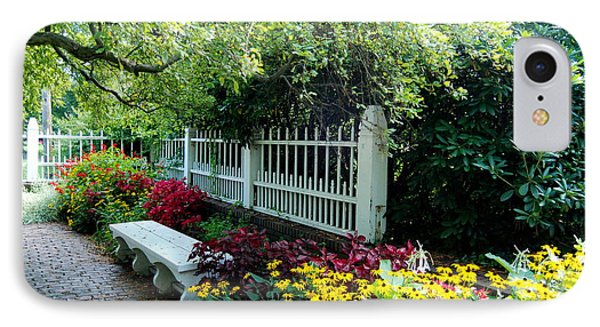 Pretty Park Bench Sits Within The Lovely Prescott Park Area Of Portsmouth New Hampshire IPhone Case