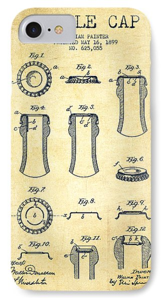 Bottle Cap Patent Drawing From 1899 - Vintage IPhone Case