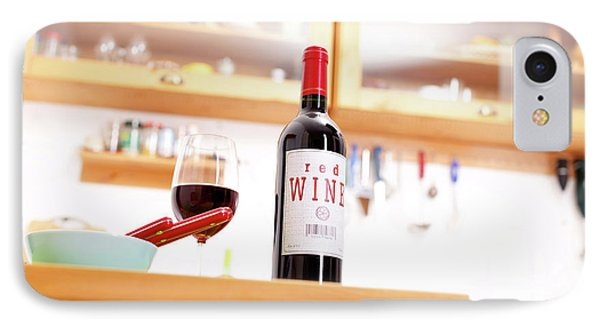Bottle Of Red Wine On A Kitchen Table IPhone Case