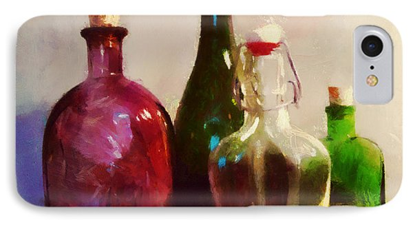 IPhone Case featuring the painting Bottles And Fruits by Wayne Pascall