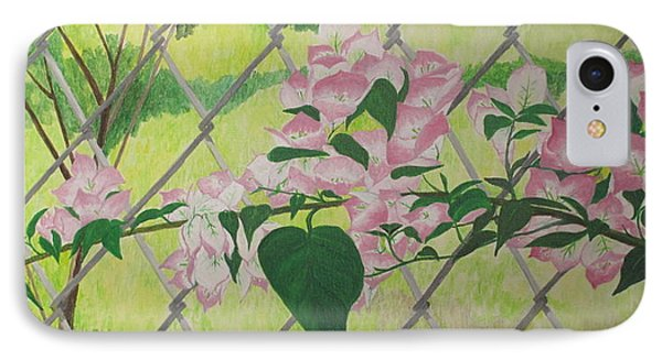IPhone Case featuring the painting Bougainvillea Near Fence by Hilda and Jose Garrancho