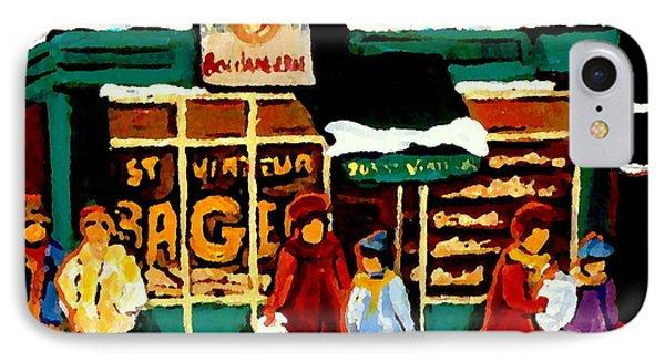 Boulangerie Bakery Deli Paintings St Viateur Bagel Shop Montreal Art City Scenes Carole Spandau IPhone Case by Carole Spandau