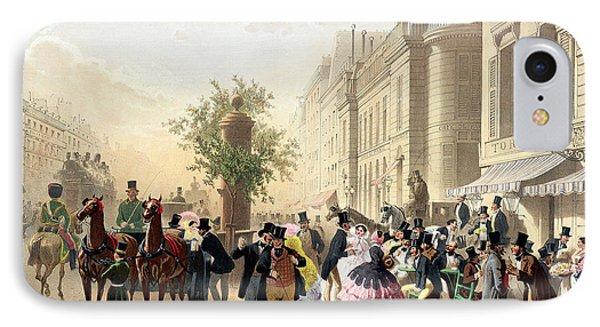 Boulevard Des Italiens From Physionomies De Paris IPhone Case by Eugene Charles Francois Guerard