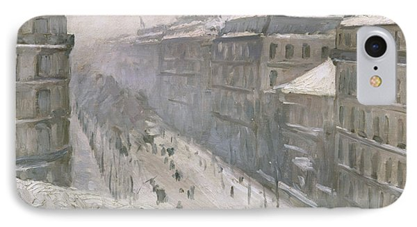 Boulevard Haussmann In The Snow IPhone Case by Gustave Caillebotte