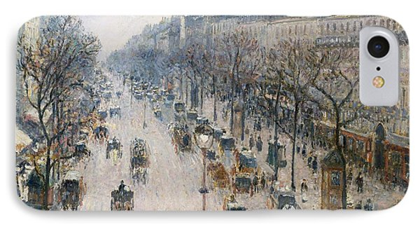 Boulevard Montmartre On A Winter Morning IPhone Case by Celestial Images