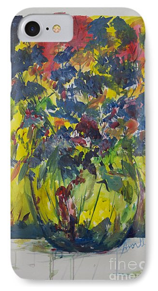 IPhone Case featuring the painting Bouquet With Blue Flowers by Avonelle Kelsey