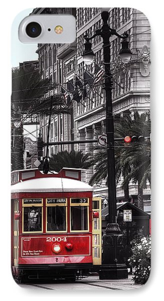 Bourbon And Canal Trolley Cropped IPhone Case by Tammy Wetzel