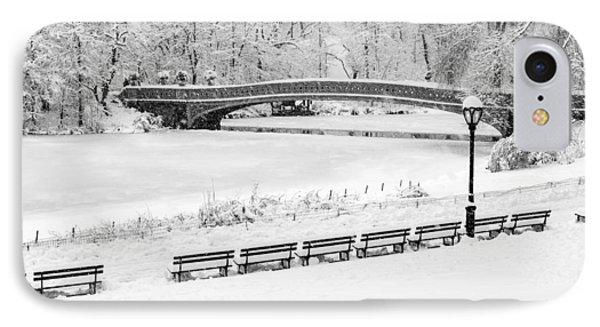 Bow Bridge Central Park Winter Wonderland Bw IPhone Case by Susan Candelario