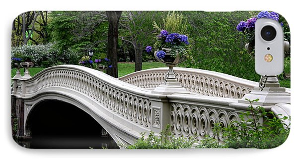 Bow Bridge Flower Pots - Central Park N Y C IPhone Case by Christiane Schulze Art And Photography