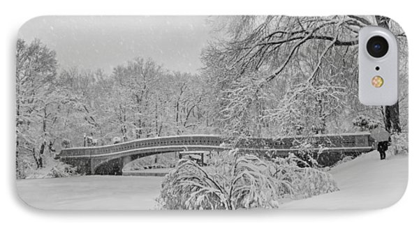 Bow Bridge In Central Park During Snowstorm Bw IPhone Case