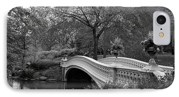 Bow Bridge Nyc In Black And White IPhone Case