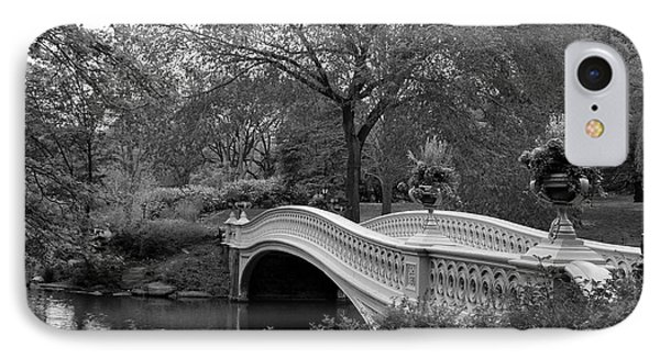 Bow Bridge Nyc In Black And White IPhone Case by Christiane Schulze Art And Photography