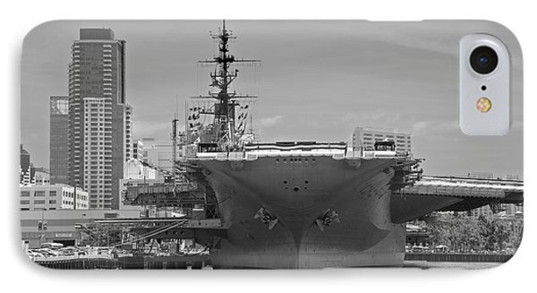 Bow Of The Uss Midway Museum Cv 41 Aircraft Carrier - Black And White IPhone Case by Claudia Ellis