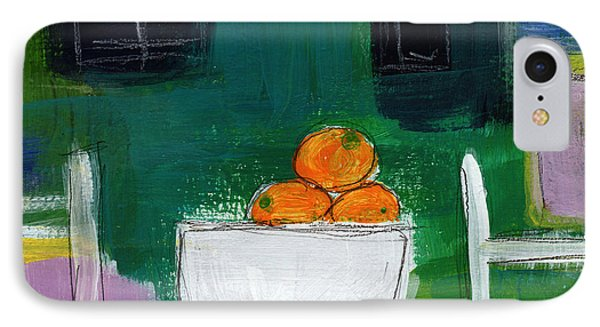 Bowl Of Oranges- Abstract Still Life Painting IPhone Case by Linda Woods