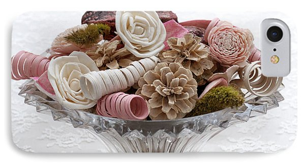 Bowl Of Potpourri On Lace IPhone Case by Connie Fox