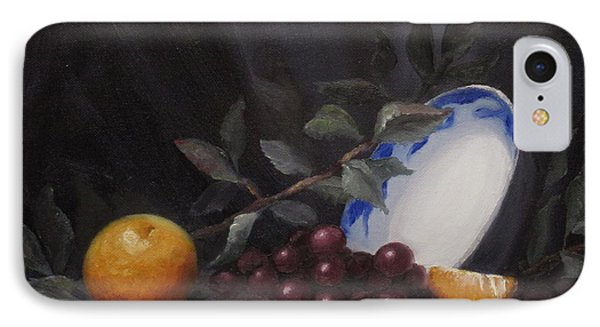 Bowl With Orange And Grapes Phone Case by Ellen Ebert