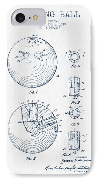 Bowling Ball Patent Drawing From 1949 - Blue Ink IPhone Case