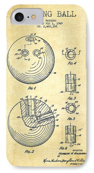 Bowling Ball Patent Drawing From 1949 - Vintage IPhone Case