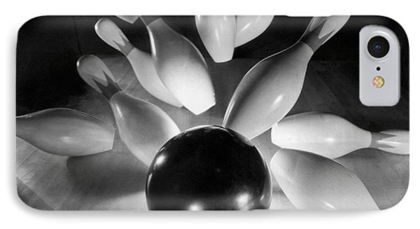 Bowling Ball Strikes Pins IPhone Case by Underwood Archives