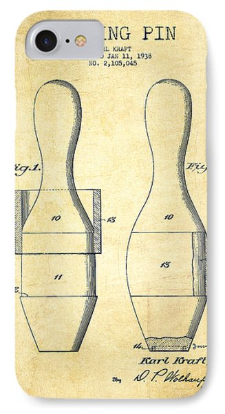 Bowling Pin Patent Drawing From 1938 - Vintage IPhone Case by Aged Pixel