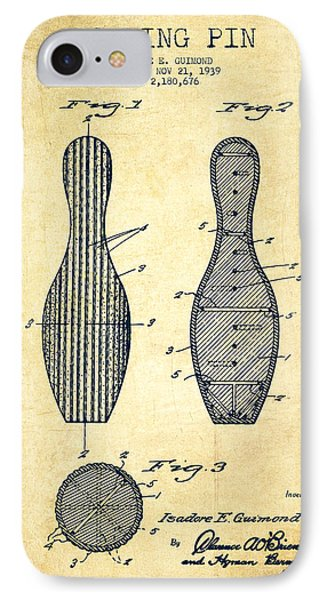 Bowling Pin Patent Drawing From 1939 -vintage IPhone Case by Aged Pixel