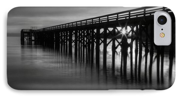 Bowman Bay Pier Sunset- Black And White IPhone Case