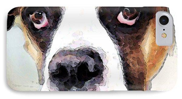 Boxer Art - Sad Eyes IPhone Case by Sharon Cummings