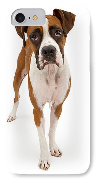Boxer Dog Isolated On White Phone Case by Susan Schmitz