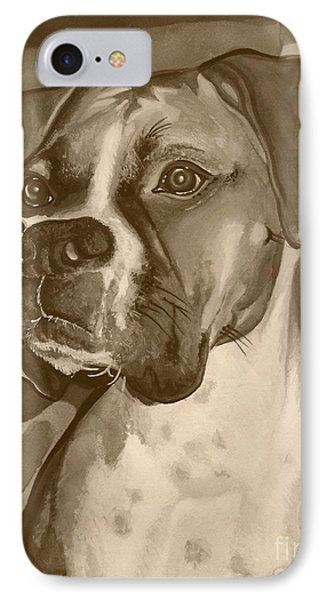 Boxer Dog Sepia Print Phone Case by Robyn Saunders