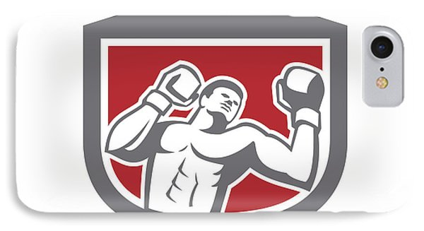 Boxer Punching Boxing Shield Retro IPhone Case