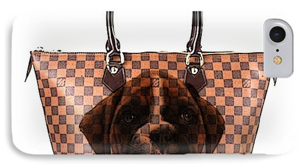 Boxer Pup Hand Bag Painting Phone Case by Marvin Blaine