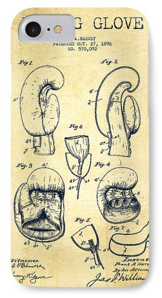 Boxing Glove Patent Drawing From 1896 - Vintage IPhone Case by Aged Pixel