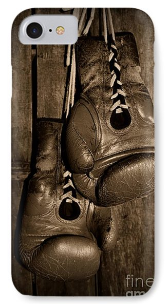 Boxing Gloves  Black And White Phone Case by Paul Ward