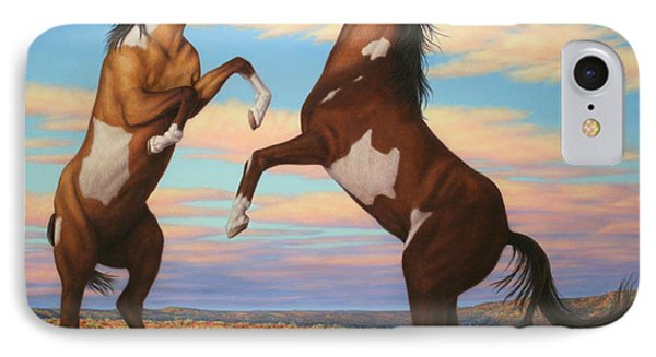 Boxing Horses IPhone Case by James W Johnson