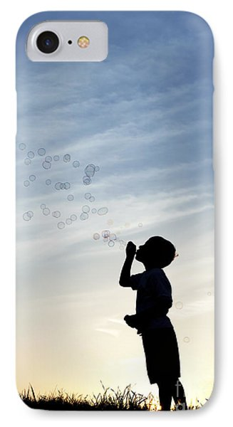 Boy Blowing Bubbles IPhone Case by Tim Gainey