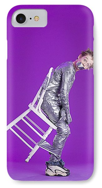 Boy Bound By Duct Tape Phone Case by Ron Nickel