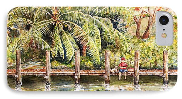Boy Fishing With Dog Phone Case by Janis Lee Colon
