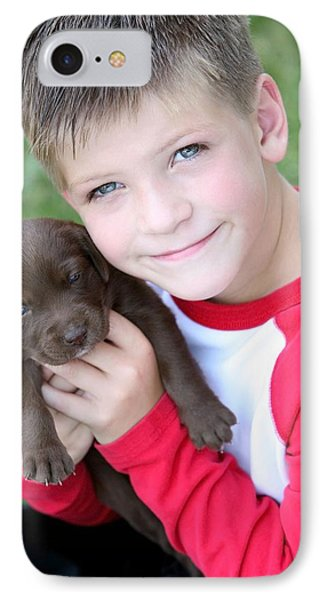 Boy Holding Puppy Phone Case by Colleen Cahill