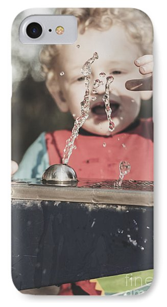 Boy Mesmerised By The Element Of Water In Motion IPhone Case