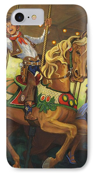 Boy On Carousel Horse IPhone Case by Don  Langeneckert