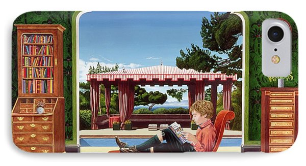 Boy Reading IPhone Case by Anthony Southcombe