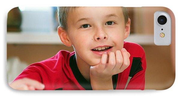 Boy Reading Book Portrait Phone Case by Michal Bednarek