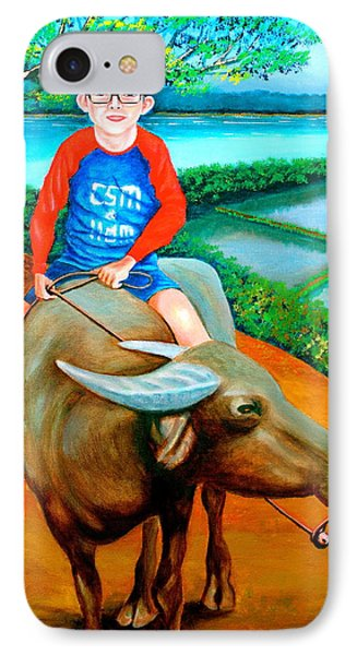 Boy Riding A Carabao IPhone Case by Lorna Maza