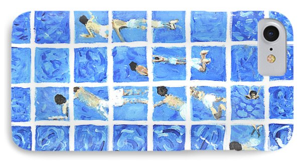 Hockney Inspired Painting Of Boy Swimming In Swimming Pool Phone Case by Ethan Altshuler