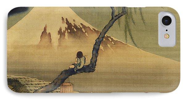 Boy Viewing Mount Fuji IPhone Case by Katsushika Hokusai