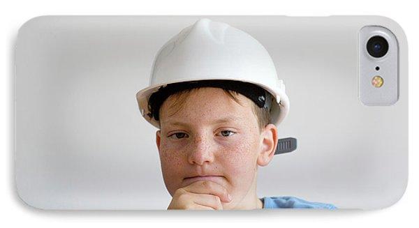 Boy Wearing Hard Hat IPhone Case