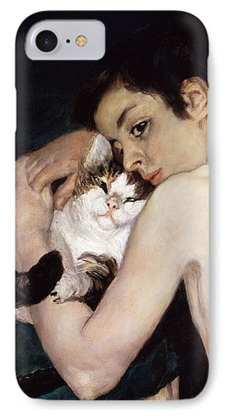 Boy With A Cat Phone Case by Pierre-Auguste Renoir