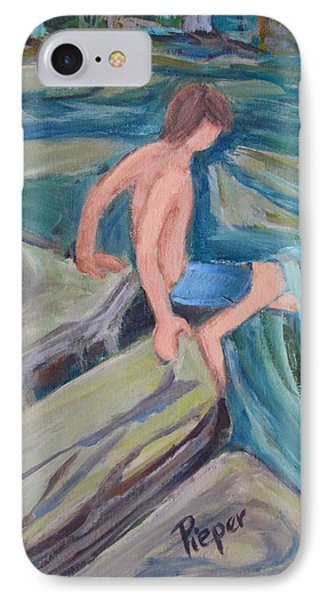 Boy With Foot In Falls IPhone Case by Betty Pieper