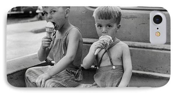 Ice iPhone 7 Case - Boys Eating Ice Cream Cones by John Vachon