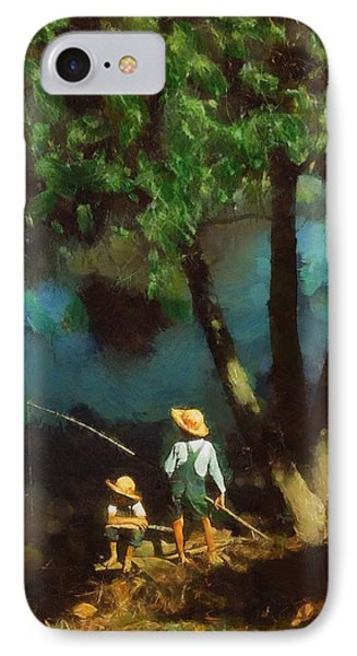 IPhone Case featuring the digital art Boys Fishing In A Bayou by Kai Saarto